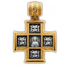 «Господь Вседержитель. Великомученик Пантелеимон со сценами жития».Крест нательный.101.255