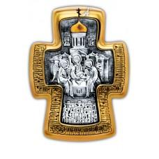 «Святая Троица. Святой преподобный Сергий Радонежский».Крест нательный.101.256
