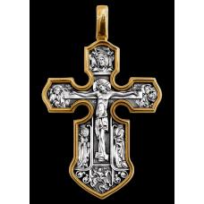 «Распятие. Казанская икона Божией Матери с предстоящими святыми» Крест нательный. 101.062