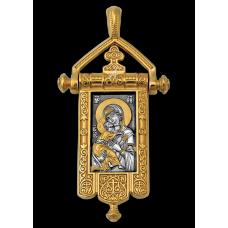 «Владимирская икона Божией Матери. Процветший Крест» Образок. 102.124