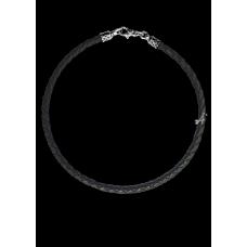 Шнурок (кожаный, плетеный,  замок-карабин) 105.035